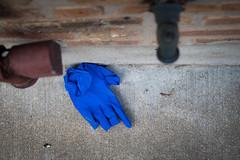 (330/366) Blue Glove (CarusoPhoto) Tags: blue glove street strange odd curious pavement sidewalk brick wall funny beautiful natural light pentax ks2 john caruso carusophoto photo day project 365 366 found