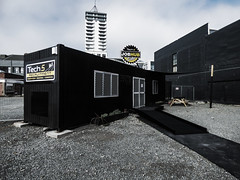 Tech 5 JobHub Cafe (Steve Taylor (Photography)) Tags: tech5 job hub cafe recruitment construction industrial commercial alarm architecture building container table path black yellow white grey block gravel newzealand nz southisland canterbury christchurch cbd city perspective cloud