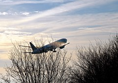 Takeoff (rustyruth1959) Tags: nikon nikond3200 tamron16300mm manchester manchesterairport ringwayvisitorscentre aircraft plane takeoff runway boeing747 wings flying transport outdoor engines fuselage ringway sky clouds trees vapourtrail wheels landinggear