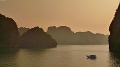 Dusk falls on Halong Bay (Olivier Simard Photographie) Tags: dusk halong vietnam halongbay hutongbay merdechine chinasea golfedutonkin karstique patrimoinemondialdelunesco dragon pirates unescoworldheritagesite vịnhhạlong descendingdragon ciel sky sea gulfoftonkin jonques hutong baiedhalong along jonque bateau boat mer île voyage asie chine island ocean pêche pêcheur asia travel landscape oliviersimardphotographie catbaisland