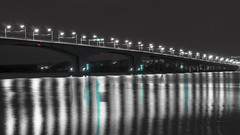 Red Light Green Light (andrey.senov) Tags: city bridge light night river glow fuji russia fujifilm province volga     kostroma   xa1 35faves    fujifilmxa1