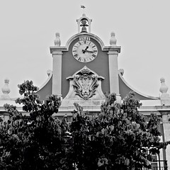 The Market Place Watch (pedrosimoes7) Tags: blackandwhite bw portugal architecture blackwhite watch cc creativecommons marketplace clockworks watchtower caldasdarainha portuguesearchitecture urbanarte torredorelógio arquitecturaportuguesa hccity blackwhitepassionaward
