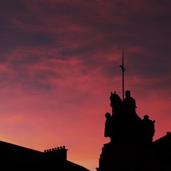 'Above the rooftops' (Claire Quinn Photography) Tags: sunset silhouette scotland rooftops cenotaph paisley renfrewshire