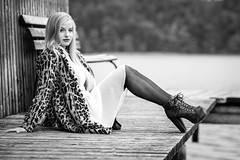 What the bench! (Singflow) Tags: autumn light portrait woman white lake black hot sexy water girl monochrome beauty fashion female backlight bench hair austria evening high long legs skin boots outdoor dusk gorgeous jetty goddess young mini skirt lips upper teen blond stunning ambient heels catwalk beautyful laceup glamourous twen grabensee perwang singflow