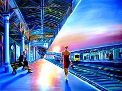 AtFirstSight (Mark John Maguire) Tags: sunrise trainstation firstmeeting stationplatform loveatfirstsight atfirstsight contemporarybritishartist markjohnmaguireartist markjohnmaguire tragedyinblue httpswwwfacebookcommarkjohnmaguire1reftntnmn britishmodernartist britishmetaphysicalartists platformsunrise womaninredonplatform contemporaryartistinwales modernartinwales greatlivingartists
