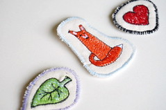 embroidered brooches (cernaovec) Tags: thread leaf heart handmade embroidery sewing textile fabric cotton fox accessories textiles fiber embroidered freemotionembroidery sewn luckycharm