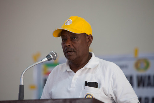 Dr. Tadesse Alemu, Rotary International, speaking at the laucnh of the Polio NIDs Campaign in Jijiga