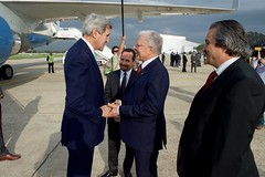 Secretary Kerry chats with Tunisian Foreign Minister Baccouche at El Aouina Air Base (U.S. Department of State) Tags: tunisia tunis johnkerry taiebbaccouche