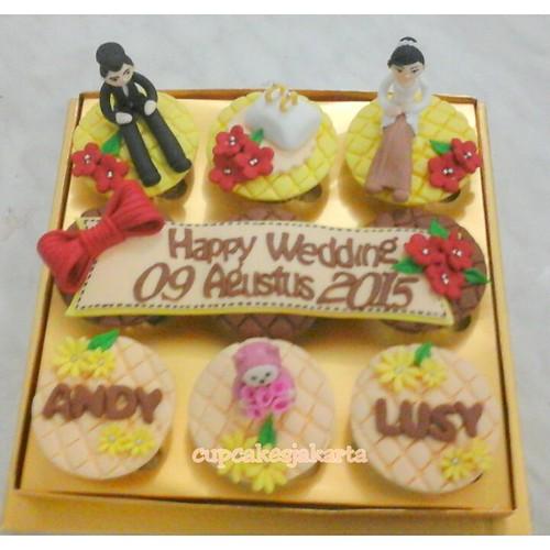 Cupcake Seserahan Hantaran Pernikahan Kuning Jakarta A