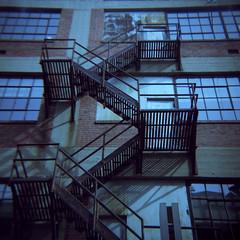 Over, Under, Sideways, Down (UberJ) Tags: sky color building 120 6x6 metal wall architecture stairs toy iron fuji bricks toycamera engineering diana fujifilm worldtoycameraday wtcd 400h fujipro400h wtcd2015