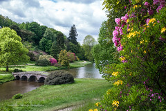 Stourhead in the Summertime (clive_metcalfe) Tags: uk bridge flowers trees summer sky cloud lake color colour tree water beauty grass garden landscape scenic stourhead wiltshire nationaltrust capabilitybrown stourton pulchritude colincampbell henryhoare