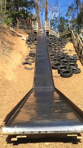 Zoe. The big slide at Vaughan Springs.