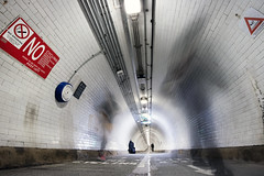 The ghosts of Woolwich Tunnel, London (Sean Hartwell Photography) Tags: woolwich tunnel london footpath people walking ghostly ghost canoneosm3 1122mm pedestrians no white red motion blur