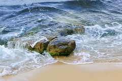 Ocean Rocks (milepost430media.com) Tags: ocean water waves pacific sea rock sand hawaii maui travel tourism tourist journey paradise rocks dslr 70d moss algae hana