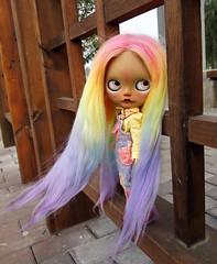 Tan girl 'Beryl' is coming. do you love my rainbow hair?