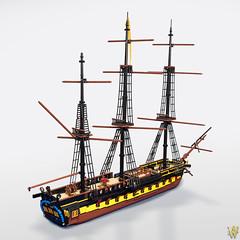 Praetorian Full (Dread Pirate Wesley) Tags: lego moc ship shipoftheline frigate sail sailing