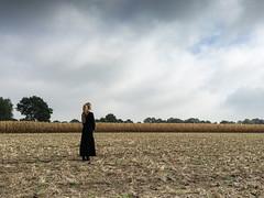 WOMAN in BLACK (fg888) Tags: woman black standing still pondering quietly cornfield