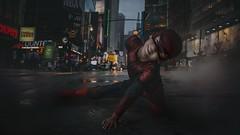 Spider-man (Yana Lam) Tags: spiderman city halloween megapolis street bigcity boy child colors night smog after rain