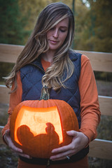 Fall Announcement (This_is_JEPhotography) Tags: baby pregnant announcement fall orange light dark cute bokeh focus lgith sony slt a77 portrait friend maternity carving candle