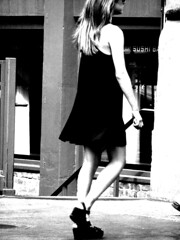 Little Black Dress (Professor Bop) Tags: professorbop drjazz canonpowershots3is newyorkcity street bw blackandwhite monochromatic woman female littleblackdress