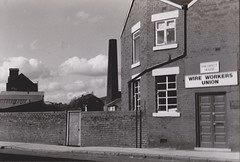 Wire Workers Union, Sheffield, 1989 (brightondj - getting the most from a cheap compact) Tags: industry sheffield bw scan scanned 35mm pentaxmesuper donvalley neepsend 1980s 1989 union tradeunions wire wireworkersunion