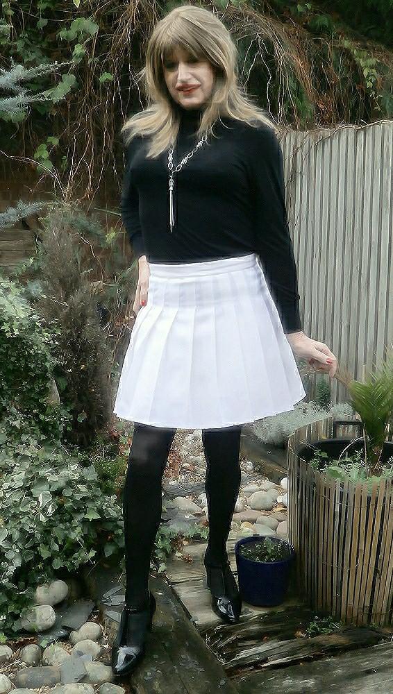 Hot Short skirt transvestite tits