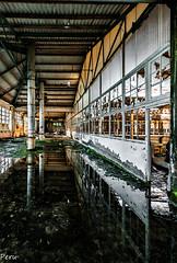 Encharcado (Perurena) Tags: agua water charco encharcado reflejo reflection ventanales windos ruina abandono decay escombros columnas tejado estructura fbrica factory urbex urbanexplore
