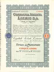 COMPAGNIA ITALIANA LIEBIG S.A. (scripofilia) Tags: 1932 azioni compagnia compagniaitaliana italiana liebig sa
