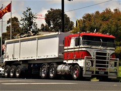 photo by secret squirrel (secret squirrel6) Tags: secretsquirrel6truckphotos craigjohnsontruckphotos kenworth leongatha cabover red 2013 trucking bulk tiptruck dumptruck southgippslandhighway classic flickr photos flags screen gaurd kmodel