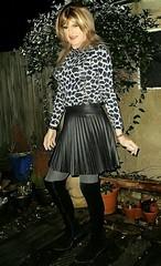 Pleated Skirt & OTK Boots (Amber :-)) Tags: charcoal sunray mini skirt tgirl transvestite crossdressing