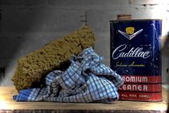 Cadillac (Michel Leclercq) Tags: cadillac chrome parechocs nettoyage ponge chiffon michelleclercq stilllife naturemorte tabletop bumpers cleaning cloth
