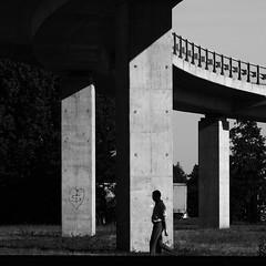 Three titans (mkorolkov) Tags: street streetphotography light shadow bridge silhouette columns titans 3 blackandwhite monochrome fujifilm xe1 xc50230