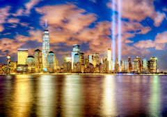 Tribute in Light 2015 (mudpig) Tags: city nyc newyorkcity longexposure light panorama ny newyork reflection skyline night clouds river geotagged newjersey memorial jerseycity downtown cityscape cloudy dusk worldtradecenter 911 financialdistrict hudsonriver bluehour remembrance groundzero hdr cloudscape tributeinlight goldenhour 9112001 mudpig 1worldtradecenter stevekelley oneworldtradecenter stevenkelley