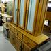 Large 3 door waxed pine kitchen dresser