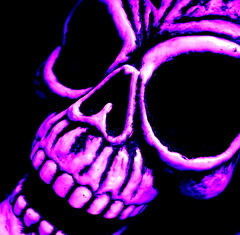 laugh laugh (milomingo) Tags: pink blue halloween face closeup contrast square skeleton skull scary bright vivid evil spooky horror bone photoart bold a~i~a