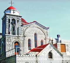 "Greece, Chios island, Pyrgi, Dormition of the Virgin church,  decorated with ""xysta"" grey-white motifs & geometric   patterns, typical of the town (bilwander) Tags: travel church greece othodox aegeansea bilwander   chiosisland xysta"