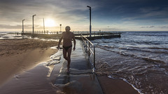 The Retired Life (jonosjourneys) Tags: sky people sun seascape colour beach nature water clouds swimming sunrise landscape dawn shadows outdoor sydney mona vale pools beaches northern rockpool