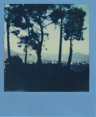 Naples Gulf from OAC (Br1Johnny) Tags: trees sunset sea italy panorama mountain mountains color nature beautiful project wonderful landscape polaroid day gulf peaceful event e 600 frame linux napoli naples vesuvius vesuvio osservatorio impossible 635 mediterrean supercolor capodimonte astronomico impossibleproject imposibleproject