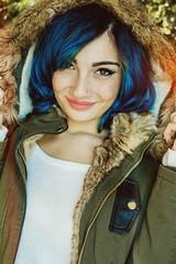 Winterly selfpic (Emanuela Marino) Tags: winter selfportrait cold me hairdye girl smiling hair lights colorful bokeh freckles dye bluehair selfpic suicidegirl