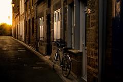 the spell of the sun (s@brina) Tags: street light sun bike evening peace explore lane rays bretagna