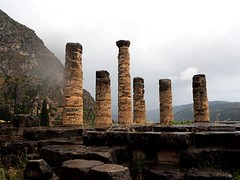 Navel of the word...according to the ancient Greek father-god,  Zeus ; Temple of Apollo remains Delphi, Greece. (mikescottnz) Tags: temple greece rainthensunshine oracle history ancient ruins delphi 20152016 columns mountparnassus hellas pillars delphicoracle chaoskampf