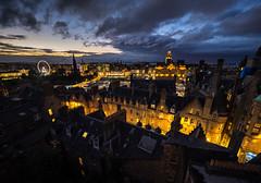 Edinburgh (buddythunder) Tags: europe uk scotland edinburgh royalmile newtown wheel dusk evening lights yellow streetlights buildings quaint beautiful ornate georgian wideangle windows chimneypots skylights terraces leadin travel