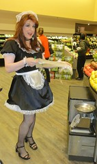 Rocking the produce section (rgaines) Tags: costume cosplay crossplay drag frenchmaid halloween shopping