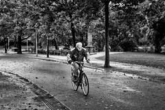 Amsterdam Vondelpark Through wind and rain (peterpj) Tags: amsterdam vondelpark bik fiets fietser bw sigma sigma3015dnc sony a6300 nederland holland rain wind