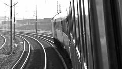 HST Approaching Doncaster. (ManOfYorkshire) Tags: vtec virgin trains railway eastcoast deoncaster approaching bw blackwhite rear curve south station slow slowing belmontyard leaningout window dangerous practice hst intercity125 powercar diesel