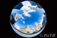Round The Pier Head (PixTill) Tags: fisheye liverpoolwaterfront threegraces pierhead architecture historicalbuilding