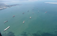 queue of ships (sth475) Tags: aerial view fromtheplane sea water ocean strait ships waiting singapore singapura