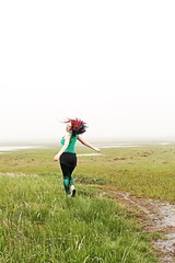 Mer-Mist (ii) (sarah-sari19) Tags: june summer outside mist fog disappearing mysterious water sea eerie misty foggy afternoon grey grass seagrass path girl woman green mermaidhair curls curlyhair wild dance spin turn colorful vivid wildness nature