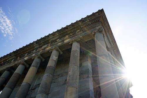 Sunrays above Garni Temple, Armenia