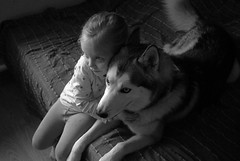 (2016-09-22 21-13-49) (Oleg Green (lost)) Tags: family children cozy home husky dog bw